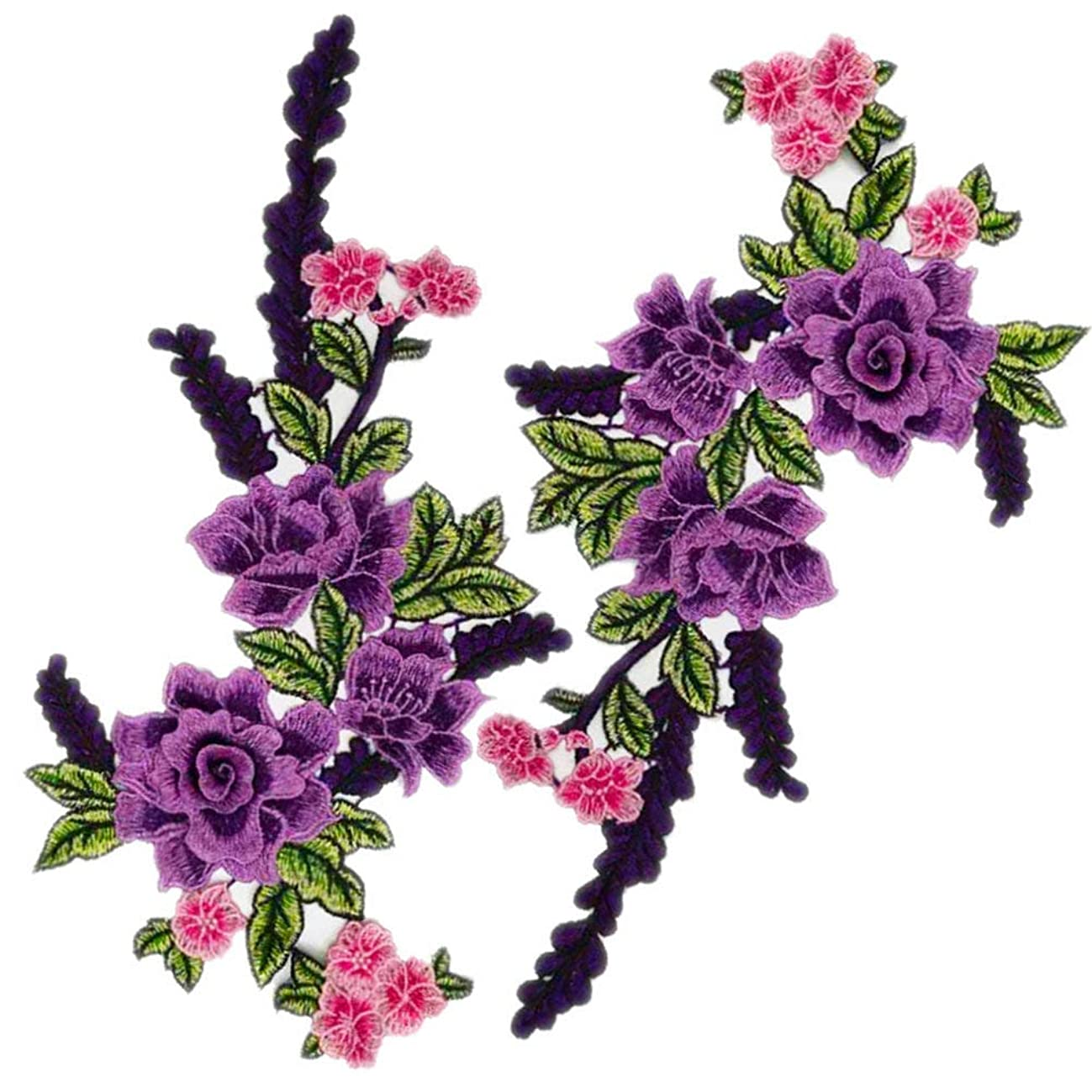 2Pcs 3D Floral Lace Embroidery Applique Flowers Lace Patches Cord Fabric Scrabooking Patch Sewing for Dress Decorated Craft (Purple)