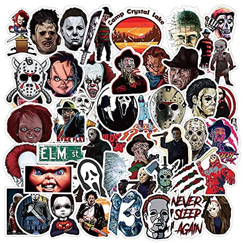 50 klassische Horror Film Charaktere Vinyl Aufkleber TV Aufkleber Laptop Aufkleber Wasserdicht Aufkleber Gepäck Skateboard Wasserflasche Aufkleber Fahrrad Stoßstange Snowboard Dekoration Party Decor