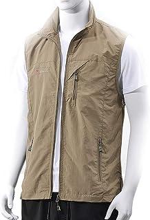 Men's vest Quick-Drying vest Summer Outdoor vest Quick-Drying vest Men's Breathable Thin Multi-Pocket Fishing vest (Color : Khaki, Size : XL)