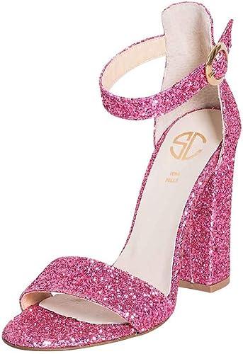 Sandalias Elegantes, Größe 35, Zapato de Purpurina, Farbe Fucsia, Fabricado en Italia, tacón Alto de 10 cm, con Correa para el Tobillo, para Estudiantes, Creaciones SKF-20