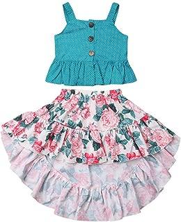 ZOELNIC Baby Girl 2pcs Skirt Set dots Toddler Kids Ruffles Tank Tops + Floral Dress Summer Outfits