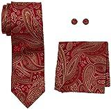 Landisun Herren Krawatten Set Paisley 18E02 Red Brown, Small (Hersteller Größe:3.25W x 59L)