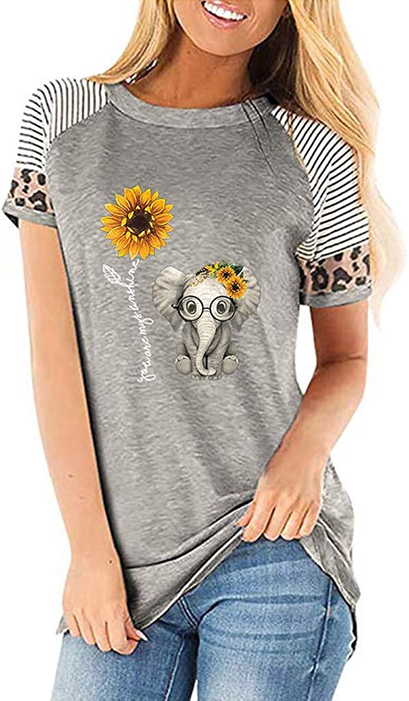 Womens Short Sleeve Tops, Sunflower Shirts for Women Cute Graphic Tee Casual Leopard Printing T-Shirt O-Neck Blouse Tops