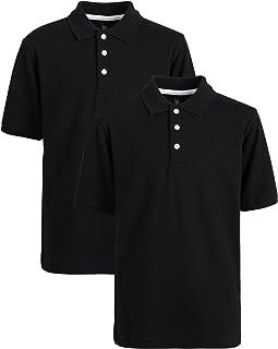 U.S. Polo Assn. Boys' School Uniform Shirt - Pique Short Sleeve Polo T-Shirt (2 Pack)