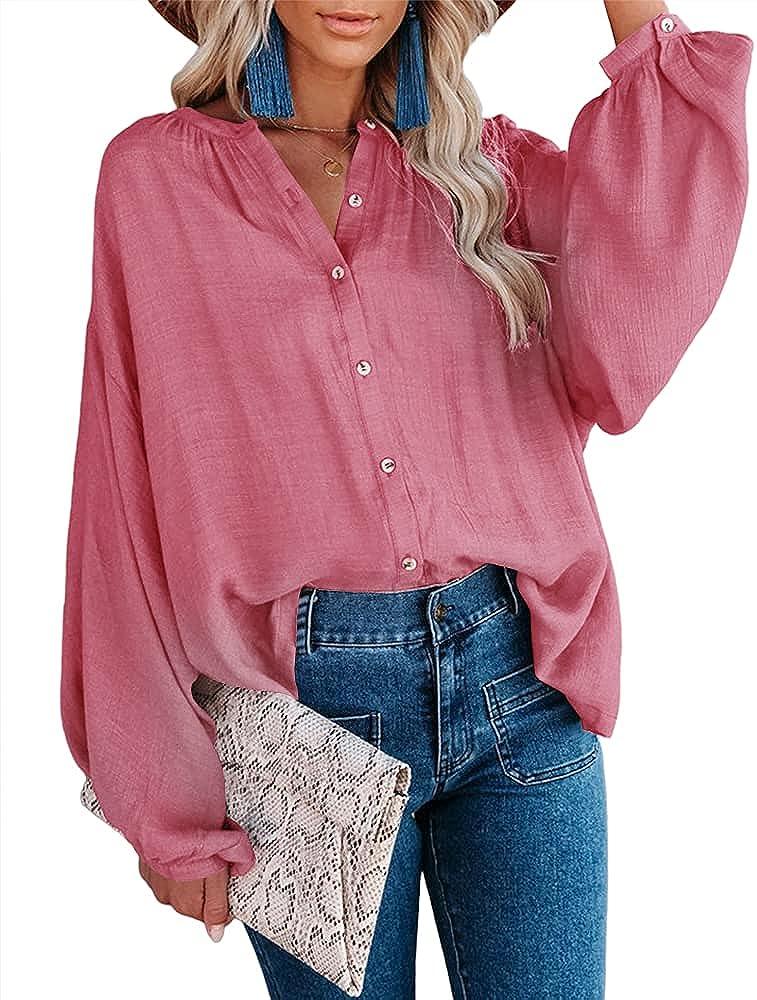 MIRACMODA Women's Shirts Linen Balloon Sleeves Button-Down Casual Loose Tops Blouse