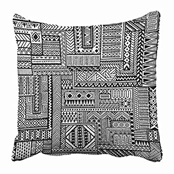 Emvency Throw Pillow Covers Cases Decorative 20x20 Inch African Ethnic Zentangle Pattern Black and White Doodle Tattoo Geometric Tribal Two Sides Print Pillowcase Case Cushion Cover
