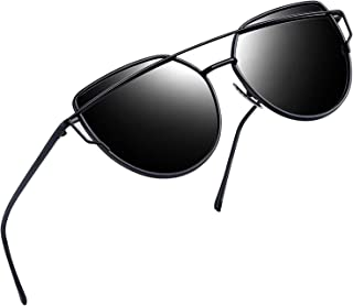 Cateye Sunglasses for Women, Metal Frame Flat Lens Womens Sunglasses Polarized