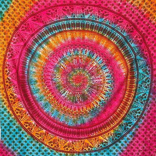 momomus Tapiz de Pared de Mandala - Hecho a Mano, de Algodón y Tintes vegetales - Multicolor, de Inspiración Simétrica, Pareo/Toalla de playa grande - Elegante y Bohemio (Multicolor 17, 210x230 cm)
