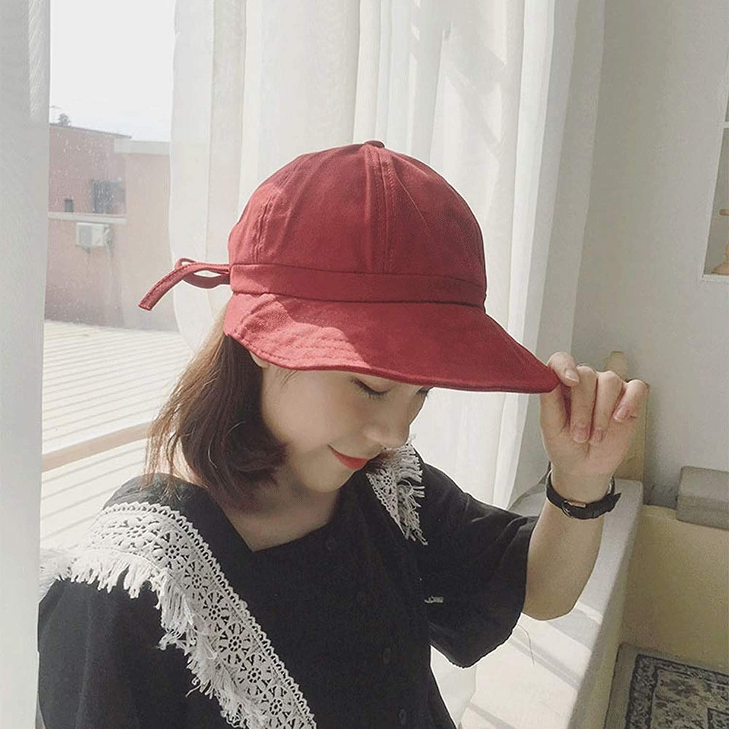 LDDENDP Women's Wild Casual Sun Hat 100% Cotton Cap Sweat-absorbent Outdoor Fisherman Fishing Casual Sunscreen Student Hat Hand-embroidered Dome Cap Sun Hat Bow Tide Basin Art 4 Colors (Color : Red)