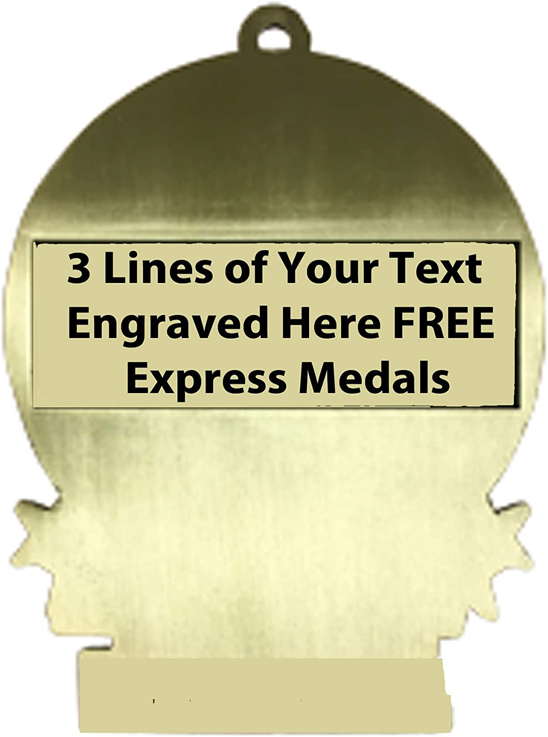 Express Medals Large 3 Archery 1st Place Medal Gold with 3 Lines of Personalized Free Engraving and Neck Ribbon Award Trophy XMD