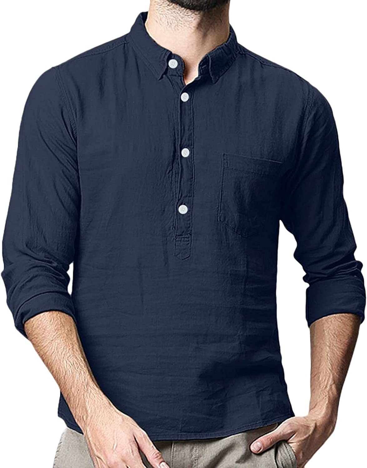 WOCACHI Cotton Linen Henley Shirts for Mens, Button Turn-down Collar Casual Shirt Comfy T-shirts with Front Pocket