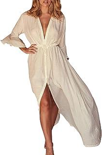 YouKD Kimono Lungo da Donna Maxi Abito Bohémien Abito da Spiaggia Vestaglia Plus Size Camicia da Notte Taglia Unica