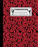 Composition: College Ruled Writing Notebook, Red Figure Ice Skating Pattern Marbled Blank Lined Book - LilaMae Press