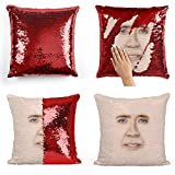 Nicolas Cage Sequin Pillow, Sequin Pillowcase, Two Color Pillow, Gift for her, Gift for him, Magic Pillow, Mermaid Pillow, Scales Pillow Cover, Funny Pillow (Cover Only)