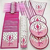FISH4 81 Piezas 20 Personas Pink Ballet Girl vajilla desechable Set Kids Birthday Party Decor Straw Servilleta Plate Cup Banner Party Supplies, Ballet Girl, China
