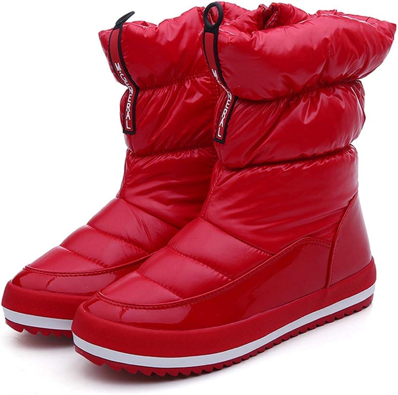 T-JULY Women Winter Snow Boots Platform Plush Casual Down Zip Waterproof Warm Ankle Cotton shoes