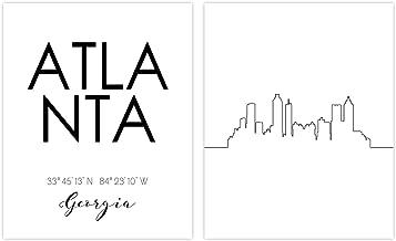 N&T Atlanta Skyline Wall Décor Prints - Set of 2 (8x10) Art Photos - Typography Minimalist Poster