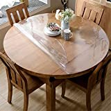 OstepDecor 2.0mm Thick Clear 48 Inches Round Table Cover, Round Table Protector, Round Table Pad, Heavy Duty Table Top Cover, Clear Table Cover Protector for Dining Room Table