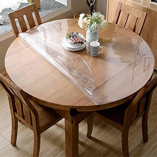 OstepDecor Upgraded Version Clear Round Table Cover, 2mm Thick 54 Inches Round Table Protector for Dining Room Table, Clear Vinyl Tablecloth Protector, Waterproof Oil Proof Plastic Table Cover Circle