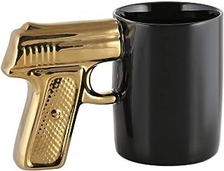Ceramic Gun Handle Mug 1 Piece, Black and Gold