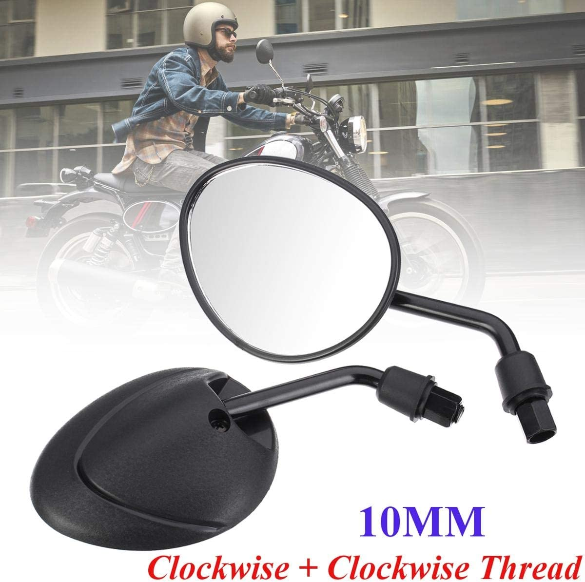 IJEOKDHDUW 8 10mm Motorcycle Black Rear Side Mirrors Ya Cheap bargain View for Max 75% OFF