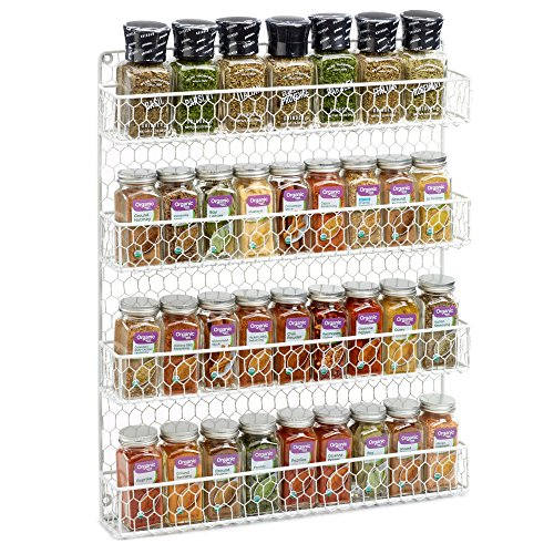 1790 Rustic Chicken Wire Spice Rack  Hanging Spice Rack  4 Tiers White