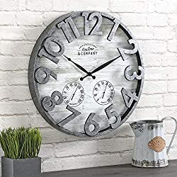FirsTime & Co. Shiplap Farmhouse Outdoor Wall Clock, American Crafted, Light Gray, 18 x 2.5 x 18,