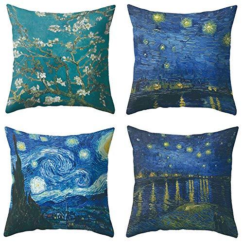 ZHAOCC Set di 4 federe in Lino Federa Van Gogh Stile Pittura a Olio Federa Federa Divano Sedia Cuscino Regalo 45x45 cm