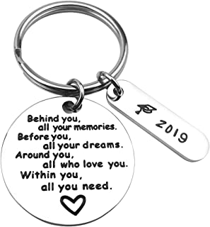 ALoveSoul Graduation Keychain, Behind You All Your Memories Before You All Your Dream, College Graduation Gifts for Her Inspirational Graduates Key Chains Inspirational Gifts for Women