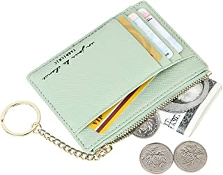 Women's 8 Cards Slim Minimalist Card Holder Case Zip Coin Changes Front Pocket Wallet