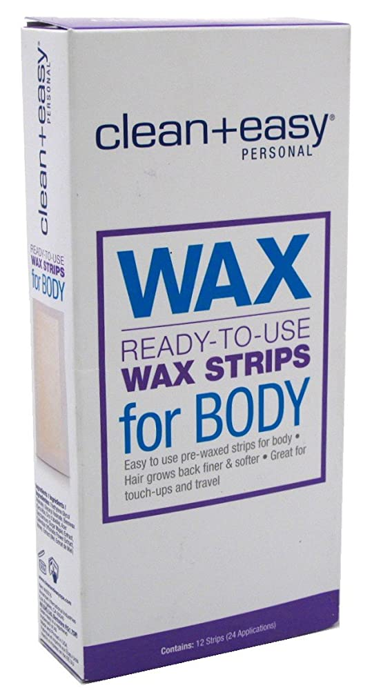 Clean+Easy Wax Strips Body 12 Count Ready To Use 24 Applications (3 Pack)