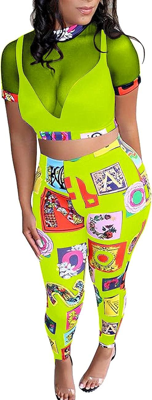 Rela Bota Women's 2 Piece Outfits Mesh Crop Top High Waist Long Pants Bodycon Clubwear Set