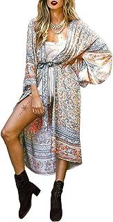 Women's Swimsuit Cover ups Cardigan with Bohemian Floral Print Shawl Beach Bikini Kimono Summer Swimwear Coverups