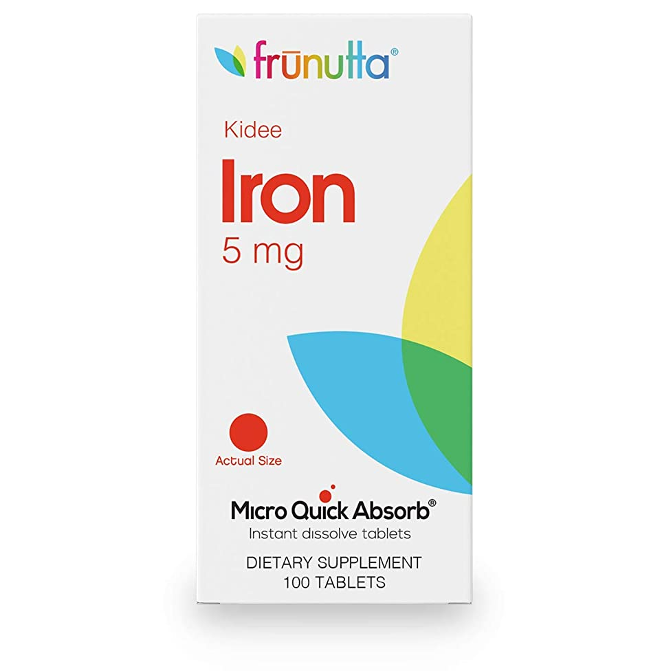 Frunutta Kidee Iron Children's Iron 5 mg, 100 Under The Tongue Sublingual Instant Dissolve Tablets, 3 Month Supply, Proudly Made in USA