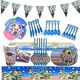 Toy Story Party Supplies Juego de decoración 82 Piezas Suministros de Fiesta Toy Story 3 Party Vajilla Paquetes Incluye Flatwares, Tazas, manteles, servilletas, pancartas para 10 niños