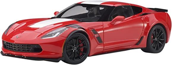2017 Chevrolet Corvette C7 Grand Sport Red with White Stripe and Black Fender Hash Marks 1/18 Model Car by Autoart 71274