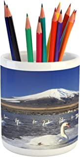 Ambesonne Mountain Pencil Pen Holder, Swans on Lake Yamanaka Nature Park Snowy Peak Mountain Animal Japan Scenic Photo, Ceramic Pencil Holder for Desk Office Accessory, 3.6