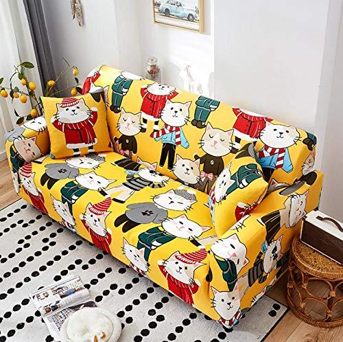 Estiramiento Funda de sofá 3 Plazas 1 Pieza Antideslizante Fundas Impresa para Sofas Sofás Cubre Sofá Ajustable Protector de Muebles 2 Fundas de Almohada Gatito Blanco Amarillo