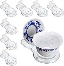 Hipiwe Acrylic Tea Cup Saucer Display Stands Clear Dinnerware Display Easel Stand Teacup Sets Plate Holder,Pack of 8 (8pcs,Short Legs)