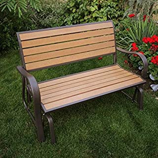 Glider Bench Contoured Comfort Outside Maintenance Free Weather-Resistant Polystyrene Simulated Wood