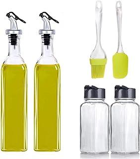 MISAMO ENTERPRISE Oil Dispenser 500 ml Bottle Set of 2, Spice jar Set of 2, Spatula and Oil Brush, Transparent, Pack of 6,...