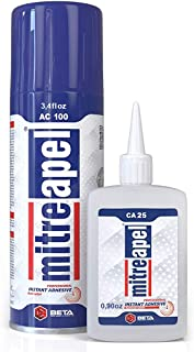 MITREAPEL Super CA Glue (0.85 oz.) with Spray Adhesive Activator (3.35 fl oz.) - Crazy Craft Glue for Wood, Plastic, Metal, Leather, Ceramic - Cyanoacrylate Glue for Crafting and Building (1PACK)