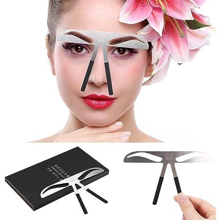 Plantilla para cejas, Delaman tatuaje de cejas y cejas, medidor de microblading para maquillaje permanente, posicionamiento de tres puntos (edición: ...