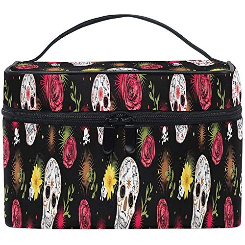 Sugar Skulls Cosmetic Bag Daisy Flower Travel Cosmetic Brush Bag Storage Organizer Large for Girls Women