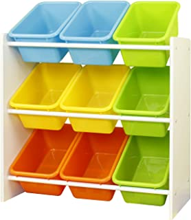 Class Kids' Toy Storage Organizer with 9 Plastic  Bright Color Bins, Small- CL16JWTR-1002N