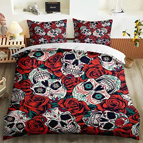 ysldtty 3D Bedding Set Cartoon Modern Punk Sugar Skull Skeleton Decoration Pillowcase Duvet Cover Set H1384U 220CM x 240CM With 2 pice pillowcase 50CM x 75CM