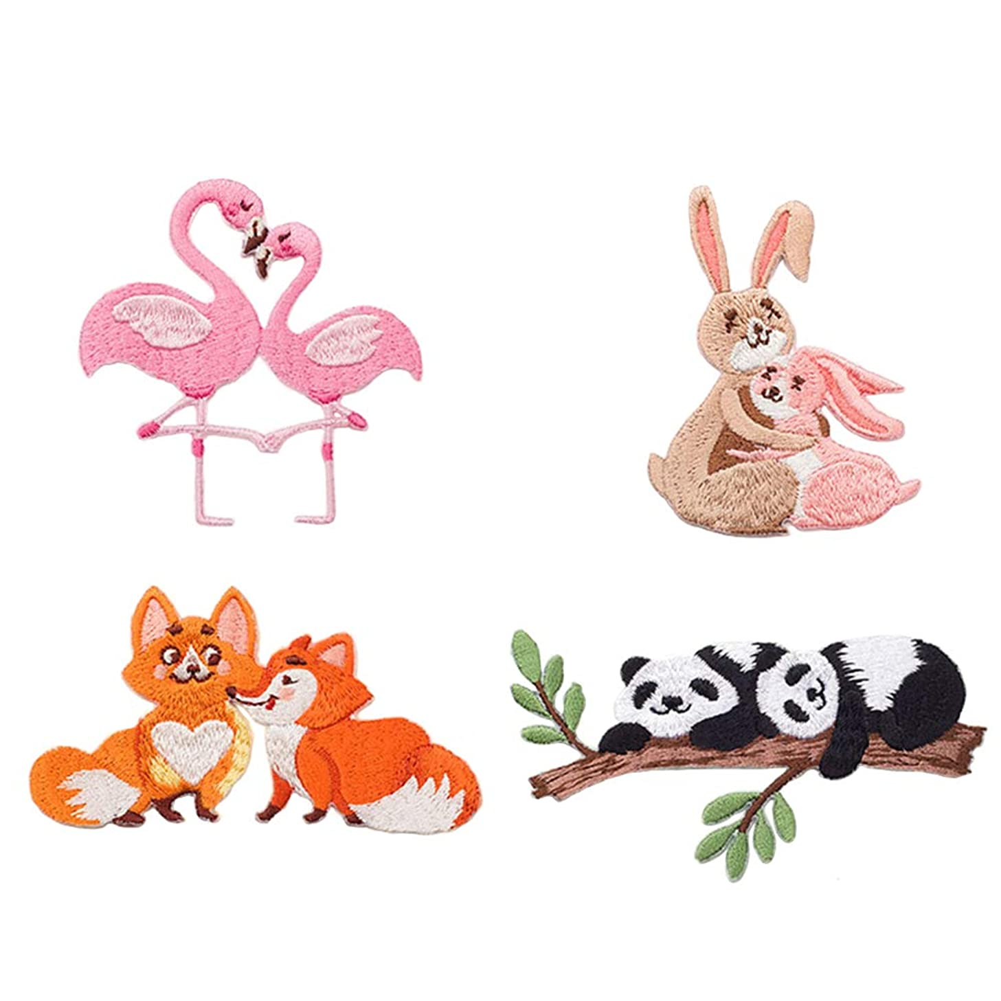 4 Pcs Cute Animals Delicate Embroidered Patches, Embroidery Patches, Iron On Patches, Sew On Applique Patch,Cool Patches for Men, Women, Boys, Girls, Kids