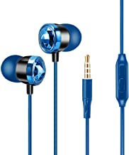 YOOKIE Earphones with Microphone in-Ear Crystal Noise Cancelling Headphones Earbuds for iPhone Samsung Smartphones Tablets Laptops Durable Cable Powerful Heavy Deep Bass (Blue)
