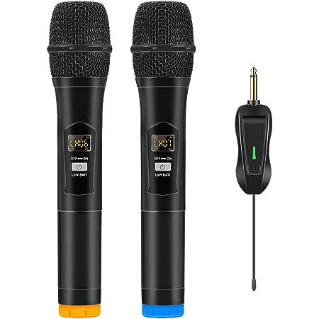 ARCHEER Micro sans Fil, Karaoke Microphone sans Fil Double Professionel Micro UHF Dynamique Portable avec Récepteur Rechargeable 50 Canaux pour Chanter/Fête/Conférence/Mariage/Classe/Eglise/Karaoké