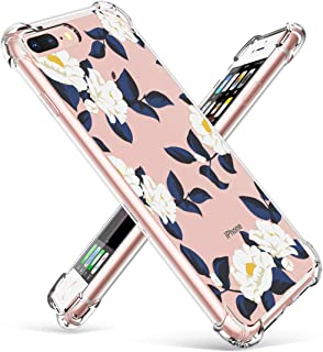 GVIEWIN Floral Flowers Design for iPhone 7 Plus Case, iPhone 8 Plus Case, with Shock Absorption Bumper Ultra-Thin Flexible Clear TPU Cover, Women Phone Cases (White Flowers/Dark Blue)